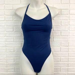 Outdoor Voices dive one piece swimsuit blue cutout